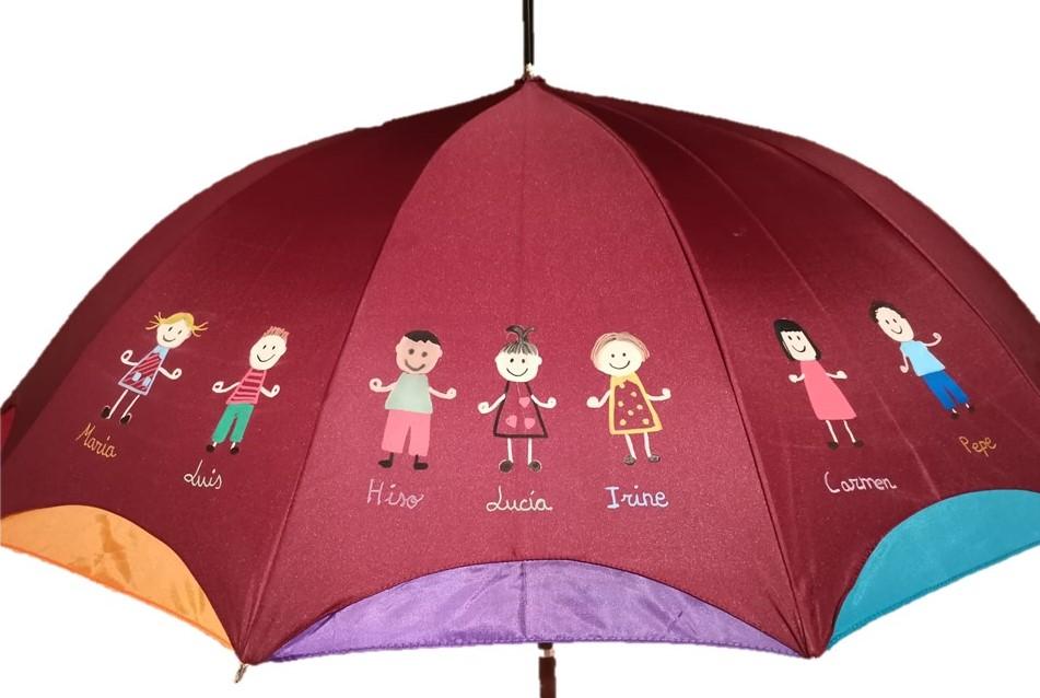 paraguas profesores con niños