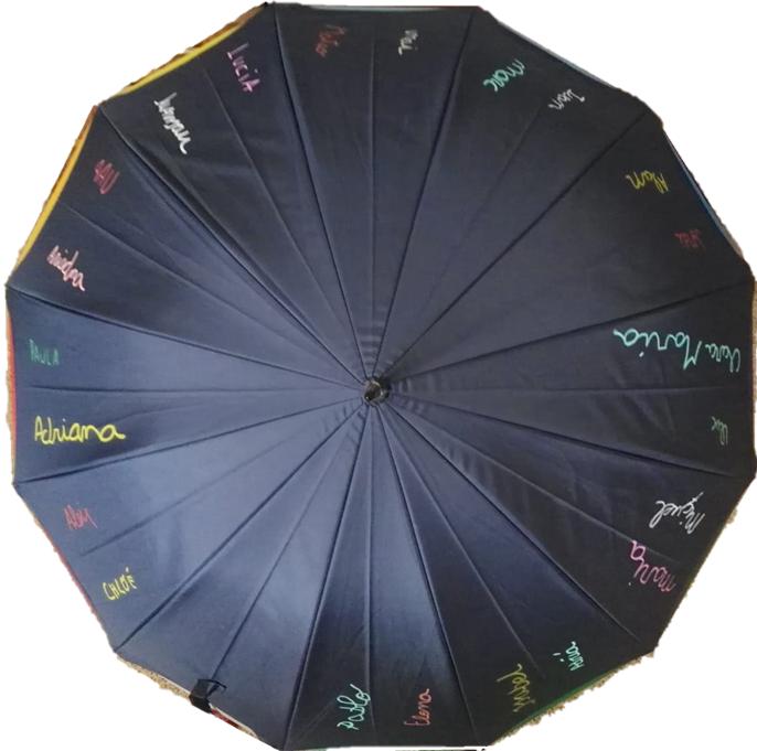 paraguas personalizado con la caligrafía de los niños